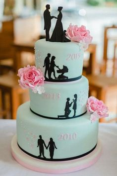 Cake decoration for the wedding - 40 beautiful ideas for your wedding-Tortendeko zur Hochzeit – 40 schöne Ideen für eure Hochzeitstorten Deko Wedding cake with the most important dates - Creative Wedding Cakes, Creative Cakes, Creative Ideas, Wedding Cake Decorations, Wedding Cake Designs, Cake Wedding, Diy Wedding, Wedding Reception, Wedding Venues