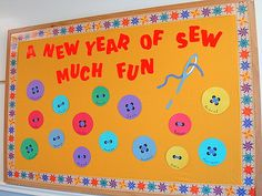 """""""A New Year of Sew Much Fun""""...back-to-school button-themed bulletin board set."""