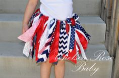 Baby and Girls 4th of July Chevron Skirt, Independence Day outfit, 4th of July baby outfit, dress, Fabric scrap tutu on Etsy, $24.00