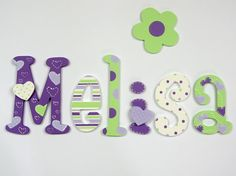 Items similar to Hand painted colorful wooden letters; baby name; wall letters, letters of wood; heart, polka dots, stripes on Etsy Wood Letter Crafts, Painting Wooden Letters, Wooden Wall Letters, Painted Letters, Letter Wall, Wooden Walls, Hand Painted, Alphabet Letters, Letter Door Hangers