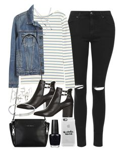 """Outfit with jeans and a denim jacket"" by ferned on Polyvore featuring Topshop, M.i.h Jeans, Proenza Schouler, Michael Kors, OPI, Casetify and Forever 21"