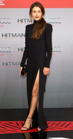 Hannah Ware.. J Mendel Fall 2015 gown, with Stuart Weitzman Nudist sandals..