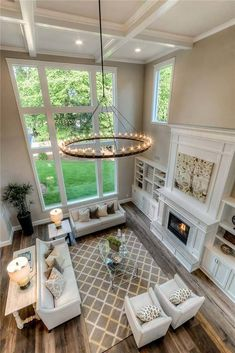 Fantastic Photo Fireplace Remodel high ceiling Concepts – Modern Craftsman House Plan With Great Room – – 13 Dream Living Rooms, High Ceiling Living Room, Home, Room Remodeling, Craftsman Interior, Great Room Layout, Room Layout, House, Living Room Remodel
