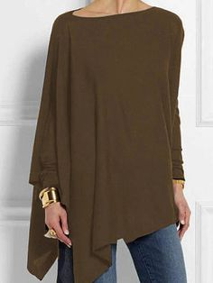 Round Neck Patchwork Casual Plain Loose Fitting Long Sleeve T-Shirt - Look Fashion Long Sleeve Tops, Long Sleeve Shirts, Plus Size Online, Tops Online, Do It Yourself Fashion, Looks Plus Size, Going Out Tops, Shopping, Womens Fashion