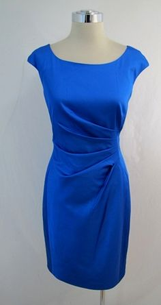 Royal Blue Ruched Stretch Dress -. $58.00, via Etsy.