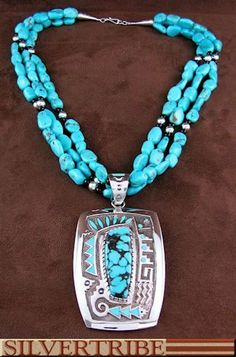 American Indian Turquoise And Onyx Sterling Silver Pendant Bead Necklace