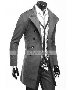 $44.39  Long Sleeve Slim Solid Stand Collar Double Breasted Men Overcoat