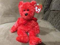 4bf88b317e5 Sizzle 2001 Ty Beanie Babie Red Valentines Day 8in Bear 3up Boys Girls 4399