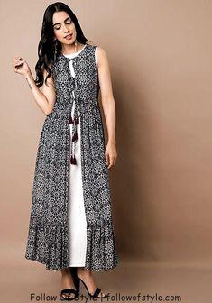 Indo Western Dresses – Buy Indo Western Wear for Women Online – Indya Black White Floral Print Maxi Jacket Kurta Designs Women, Kurti Neck Designs, Kurti Designs Party Wear, Indian Gowns Dresses, Women's Dresses, Dress Outfits, Fashion Dresses, Dance Dresses, Dresses Online