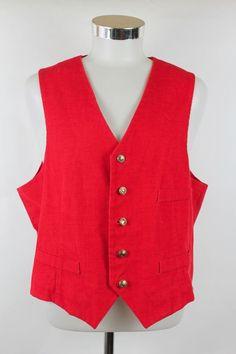 Cheryl Vest Mens size 40 (XL) Red Corduroy Handmade Vintage Gold Buttons EUC! #Cheryl