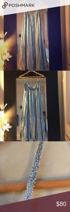 BCBGMAXAZRIA Silk Strappy Dress Silk strappy deep V-neck empire waist dress. Tie at empire waist with beaded, adjustable straps. Like new condition. BCBGMaxAzria Dresses Wedding