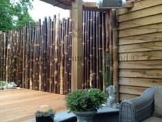 Zwarte bamboestokken als tuinschutting, indonesische zwarte bamboepalen 6-10 cm dik