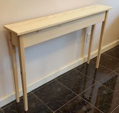 """46 """"Unfinished Narrow Shaker Console Sofa Hall Wall Table with Tapered Legs"""