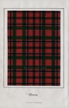 Antique Tartan Print of Clan Monro. 1860 Scottish Highlands Design