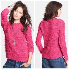 LAST CHANCE❗️Free People Hot Pink Fuzzy Sweater Super cute and soft! Brand new with tags. Looks great paired with a scarf and oversized coat. No trades!! 01716150tmr Free People Sweaters