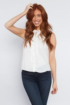 Quincy Top - Ivory - Solid, sleeveless, relaxed fit buttoned blouse with neck tie from Vinnie Louise.
