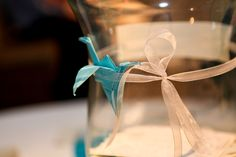 aqua & white engagement party details #papercranes #origami Our Wedding, Origami, Aqua, Gift Wrapping, Party Ideas, Table Decorations, Engagement, Gifts, Home Decor