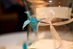 aqua & white engagement party details #papercranes #origami