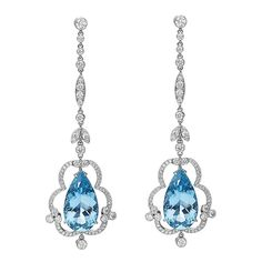 From Hamilton's Heritage Collection, one of a kind aquamarine and diamond drop earrings set in platinum. With exquisite details and vivid pear-shape aquamarines flanked by brilliant diamonds. c 2013 Platinum Earrings, Diamond Drop Earrings, Stud Earrings, Aquamarine Jewelry, Diamond Jewelry, Lotus Jewelry, Titanic Jewelry, Antique Earrings, Earring Set