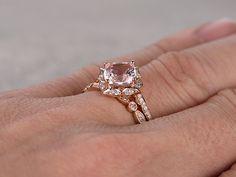 Payment plan for special customer:2pcs Morganite Bridal Ring