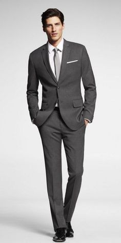 STRETCH WOOL GRAY FITTED SUIT