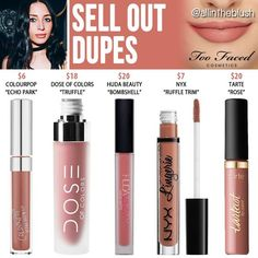 Faced Sell Out Melted Matte Liquid Lipstick Dupes - .Too Faced Sell Out Melted Matte Liquid Lipstick Dupes - . Lipstick Dupes, Lipstick Colors, Liquid Lipstick, Lipsticks, Eyeshadow Dupes, Bombshell Beauty, Makeup Tricks, Makeup Guide, Makeup Products