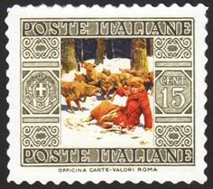 The 15-centime Italian wolf pack stamp, with art by James E. Allen.