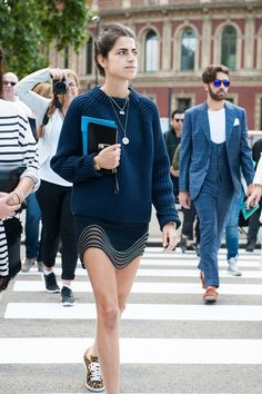 Leandra Medine gave an elaborate mini a laid-back finish with leopard-print kicks.