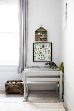 Old school desk in the home of Chloe Brookman / Ollie Ella). - Photo: Jacqui Turk Styling: Nicole Valentine Don