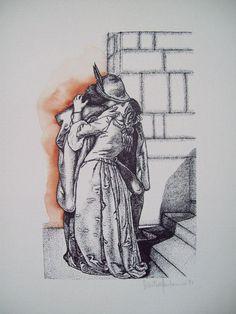 """Serigrafia eseguita con tecnica a punti e acquerellata a mano tratta da """"Il bacio di Giulietta e Romeo"""" di F. Hayez"""