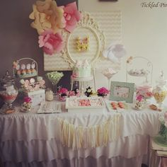 Vintage soft pink and mint green baby shower lolly buffet styled by @tickledpinkcele Www.tickledpinkcelebrations.com.au