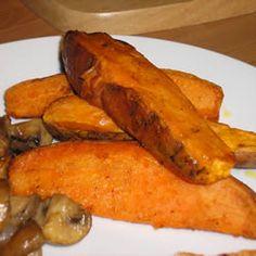 Baked Sweet Potato Sticks Allrecipes.com via @Gena Ng Rasmussen