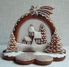 Gyerekkoromban - igen, én ilyen gyerek voltam :) - rendszeresen beugrottam annak, hogy a vásárok mézeskalács szívei ehetőek. Na, jó egy idő után... Christmas Sugar Cookies, Christmas Cupcakes, Christmas Desserts, Best Sugar Cookies, Gingerbread Cookies, Gingerbread Man, Christmas Gingerbread House, 3d Christmas, Rustic Christmas