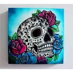 Sugar Skull Screen Print and Painting on Canvas- 12 x 12 x 1 inch ($24) ❤ liked on Polyvore featuring home, home decor, wall art, canvas painting, rose canvas wall art, dia de los muertos wall art, skull home accessories and skull home decor