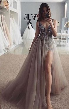 Fashion Tips 2018 Sexy Beaded Long Evening Dress Graduation Gown Customized School Dance.Fashion Tips 2018 Sexy Beaded Long Evening Dress Graduation Gown Customized School Dance Grey Prom Dress, Pretty Prom Dresses, Beautiful Dresses, Elegant Dresses, Lace Dress, Dresses For Prom, Prom Dress Long, Summer Dresses, Split Prom Dresses