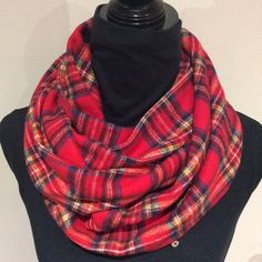 Unisex Red Plaid Infinity Scarf Flanel Scarf loop by SissyandTodo