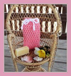 Coral Pink Crochet Soap Saver Pouf Washcloth Set with Handmade Lemongrass Lavender Soap