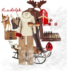"""Christmas Characters: Rudolph the Red Nosed Reindeer"" by erintmclaughlin on Polyvore"