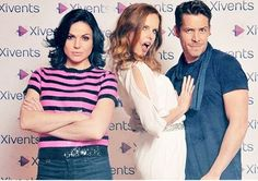 Just having fun! Lana Parrilla, Rebecca Mader  Sean Maguire
