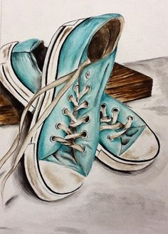 My watercolor shoes L'art Du Portrait, Shoe Sketches, Shoe Art, Art Shoes, Ap Art, Arte Pop, Painted Shoes, Art Lessons, Watercolor Paintings
