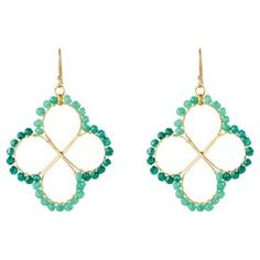 Check out this item at One Kings Lane! Green Clover Hoop Earrings