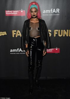 That's risqué! BRALESS Shanina Shaik (pictured), flashed her nipple pasties in a black mesh top, at amfAR's Fabulous Fund Fair in New York on Saturday Bridal Boudoir Photos, Shanina Shaik, Transgender Model, Black Mesh Top, Celebs, Celebrities, Dress Up, Girly, Punk