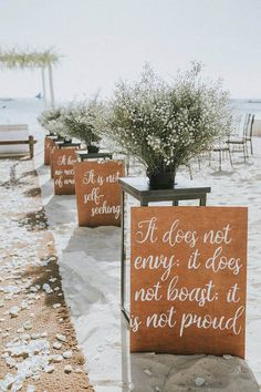 beach wedding aisle decoration ideas wedding signs 25 Stunning Beach Wedding Ideas You can't Miss for 2020 - EmmaLovesWeddings Beach Wedding Aisles, Wedding Aisle Decorations, Beach Ceremony, Wedding Ceremony, Wedding Venues, Beach Wedding Signs, Wedding On The Beach, Ceremony Signs, Ceremony Arch