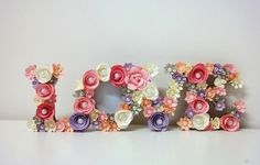 Picture Frames – Photo frame LOVE Shabby Style Only Custom Order – a unique product by PaperLoveFantasy via en.DaWanda.com #flower #pink #color