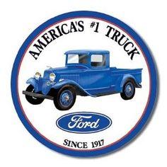 Ford Trucks Since 1917 Round Retro Vintage Tin Sign