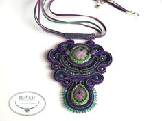 Soutache Pendant Amelia by RebarJewelry on Etsy