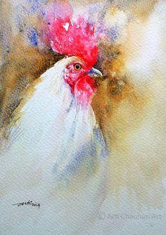 Rooster Original Watercolor Bird Painting 7x10