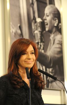 Cristina Fernández de Kirchner, former president of Argentina admired Eva Peron, background. Cristina Fernandez, President Of Argentina, Nestor Kirchner, Former President, Clint Eastwood, Power Girl, New Years Eve Party, Presidents, Celebrities