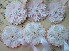 Snowflake Tags pink / champagne / white  by LittlePumpkinPapers, $5.00