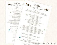 Modelo de convite de casamento moderno com tema de passarinhos fechado em cinta de papel kraft